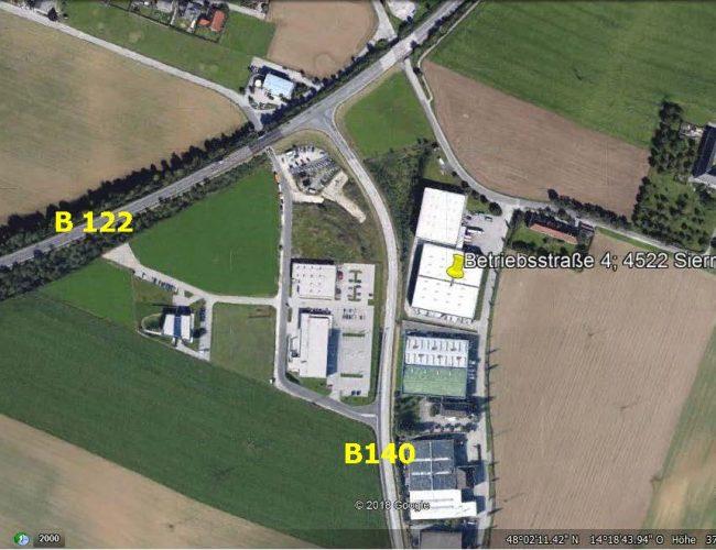 Luftbild Hallen in 4522 Sierning, Betriebsstraße 4